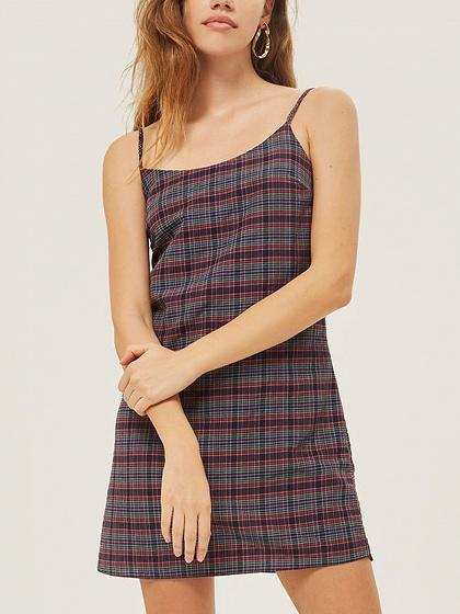 DaysCloth Black Contrast Plaid Spaghetti Strap Mini Dress