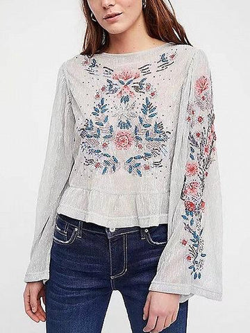 DaysCloth Silver Floral Embroidery Lurex Yarn Long Sleeve Blouse