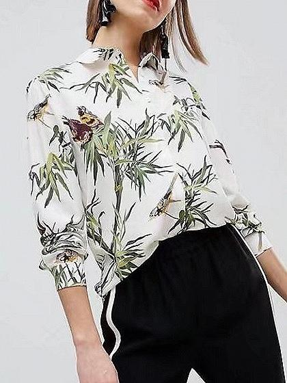 DaysCloth White Leaves Print Long Sleeve Shirt