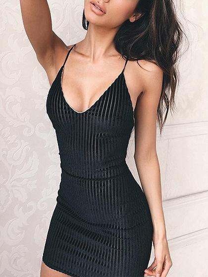 DaysCloth Black Velvet Spaghetti Strap Lace Up Back Bodycon Mini Dress
