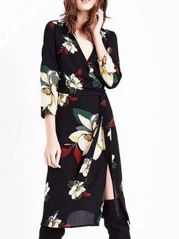 Black V-neck Floral Print Tie Waist Thigh Split Front Dress
