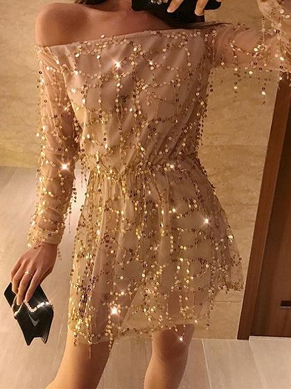 Beige Off Shoulder Sequin Detail Long Sleeve Mini Dress
