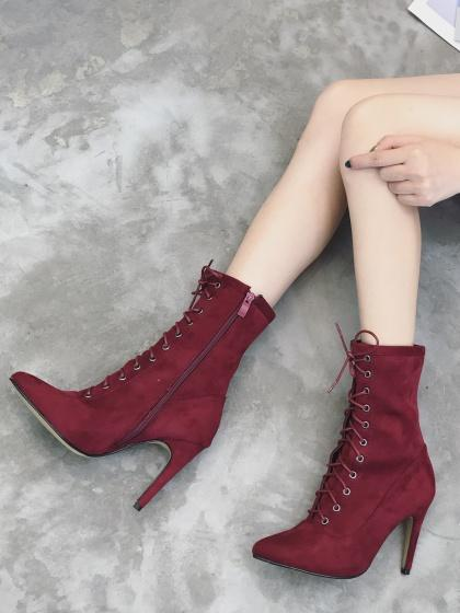 Red Faux Suede Lace Up Pointed Heeled Boots