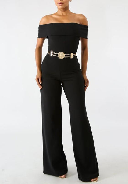 Black Zipper Off Shoulder Backless School Appropriate Elegant Party Wide Leg Long Jumpsuit