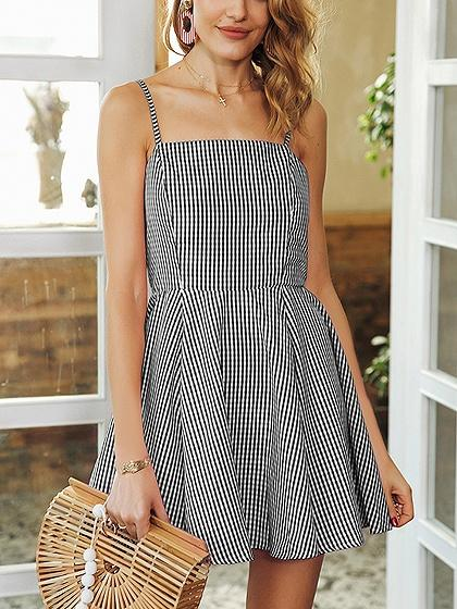 Black Plaid Spaghetti Strap Open Back Mini Dress