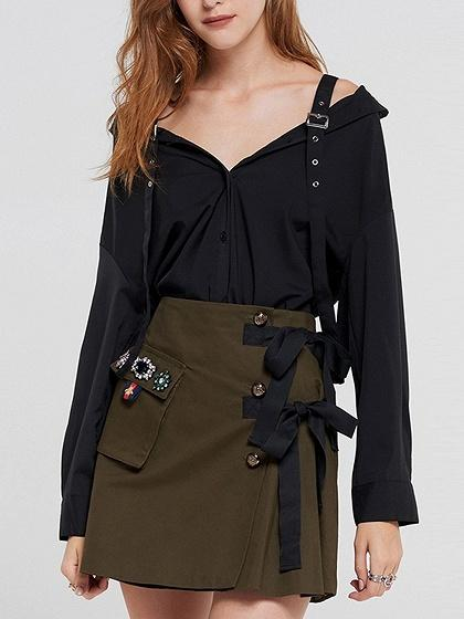 Black V-neck Buckle Strap Long Sleeve Shirt