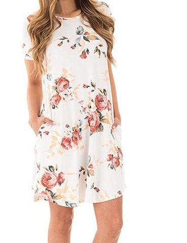 DaysCloth Cute Casual Round Neckline Floral Print Dress