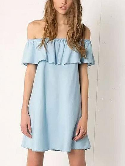 Blue Off Shoulder Ruffle Trim Mini Dress