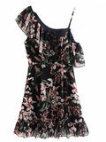 Black Asymmetric Strap Floral Print Ruffle Trim Mini Dress