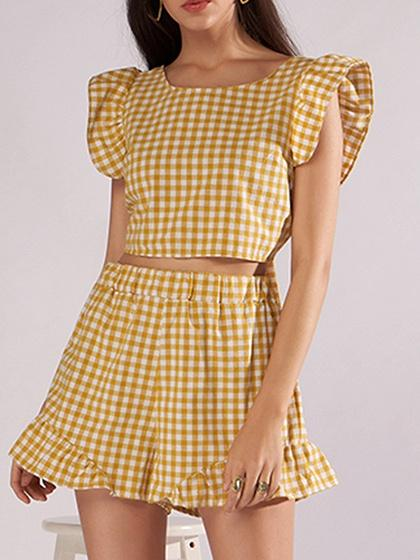 DaysCloth Yellow Plaid Crew Neck Tie Back Crop Top And High Waist Shorts