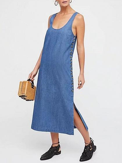 DaysCloth Blue Scoop Neck Button Placket Side Split Side Denim Midi Dress