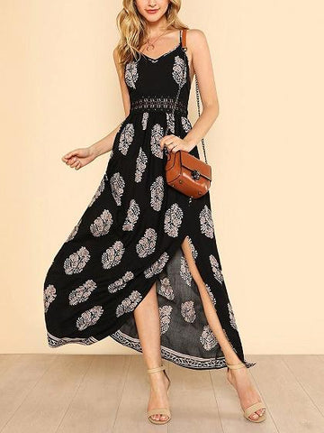 Black Spaghetti Strap Split Maxi Beach Dress