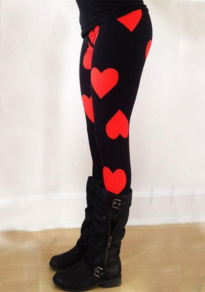 Black Heart Print Skinny Elastic Waist Christmas Party Long Legging