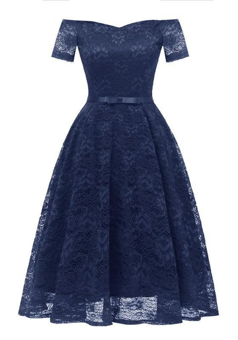 DaysCloth Navy Blue Lace Bow Pleated Off Shoulder Backless Tutu Banquet Elegant Party Midi Dress