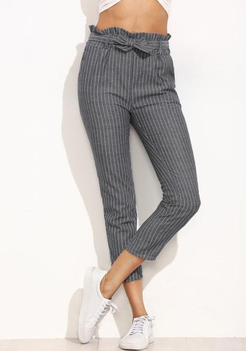 DaysCloth Grey Striped Sashes Pockets Casual Nine's Pants
