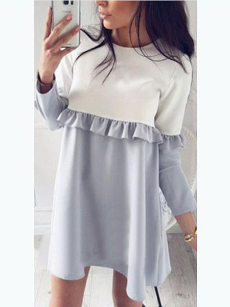 Blue Contrast Ruffle Detail Long Sleeve Mini Dress