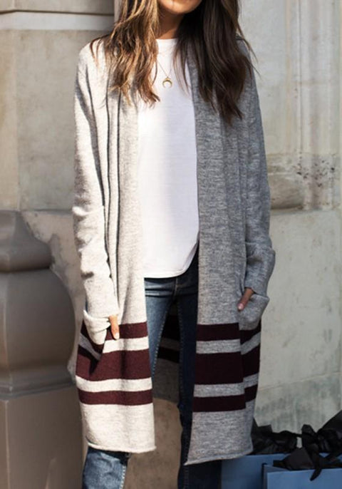 DaysCloth Grey-Burgundy Striped Print Casual Going out Cardigan Coat