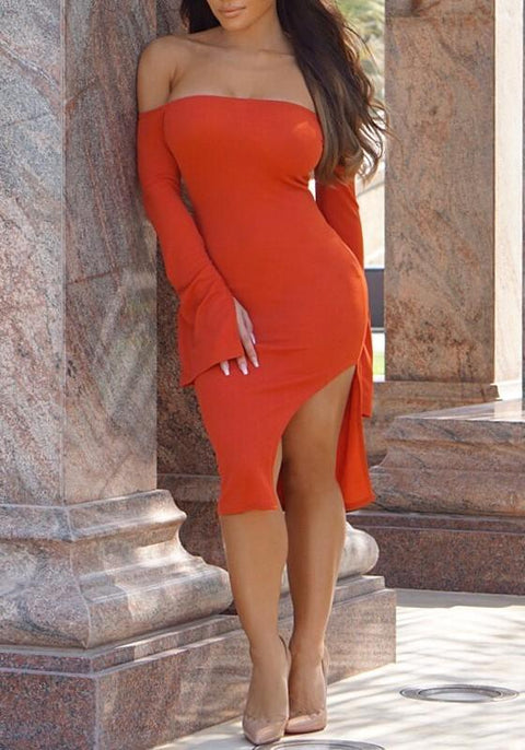 DaysCloth Orange Irregular Side Slit Bodycon Off Shoulder Long Sleeve Clubwear Party Midi Dress