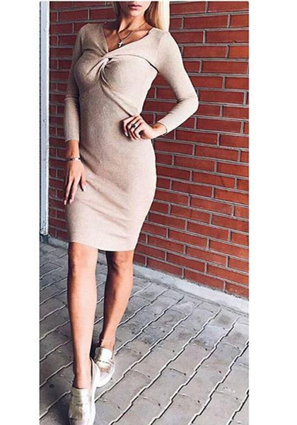 New Beige Irregular Cross Chest V-neck Long Sleeve Fashion Mini Dress