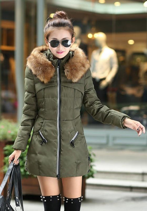 DaysCloth Army Green Patchwork Pockets Zipper Hooded Long Sleeve Casual Coat
