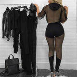 Black Patchwork Grenadine Drawstring See-through Half Sleeve Hooded High Waisted Long Jumpsuit