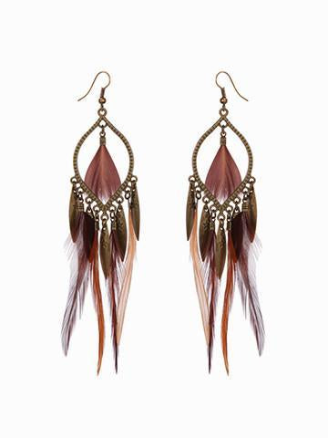 DaysCloth Boho Exaggerated Feather Earrings