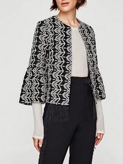 DaysCloth Black Embroidery Detail Flare Sleeve Open Front Crop Coat