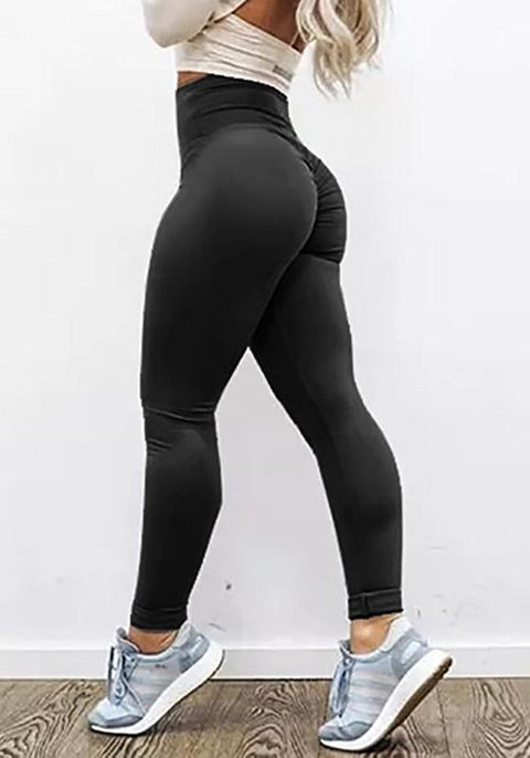 DaysCloth Black Pleated High Waisted Sports Yoga Workout Long Legging