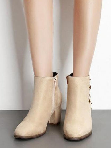 DaysCloth Beige Faux Suede Star Stud Embellished Ankle Boots
