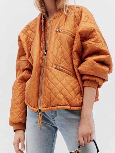 DaysCloth Yellow Quilted Padded Bomber Jacket