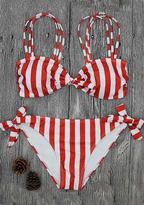 DaysCloth Pink Striped Bow Condole Belt 2-in-1 V-neck Swimwear