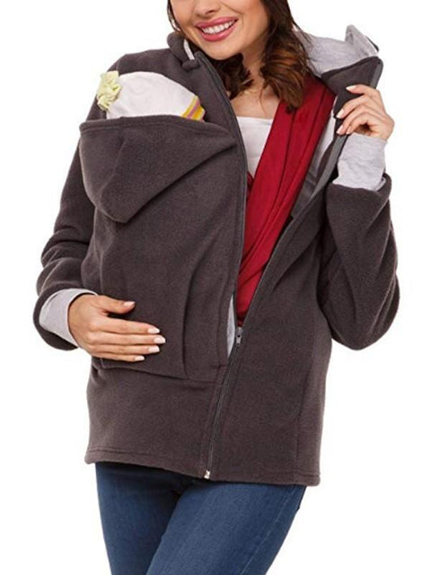 DaysCloth New Grey Pockets Zipper Hooded Long Sleeve Casual Maternity Sweatshirt