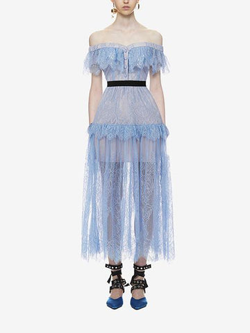 DaysCloth Blue Off Shoulder Button Front Lace Dress