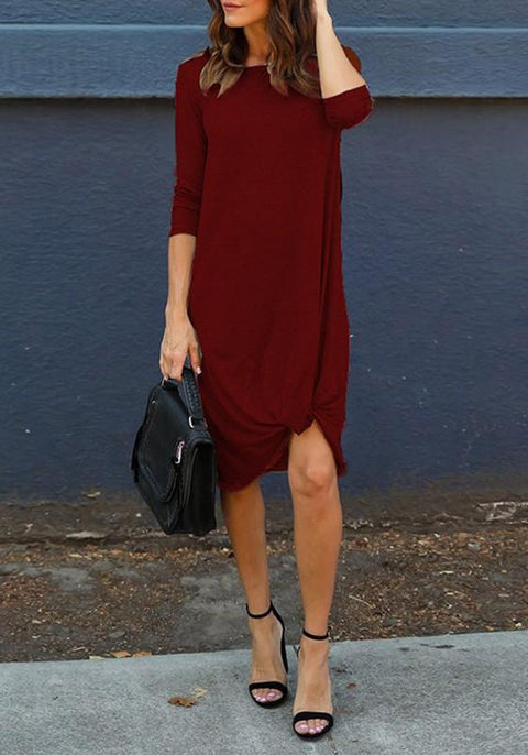 DaysCloth Burgundy Draped Round Neck 3/4 Sleeve Casual T-Shirt Midi Dress