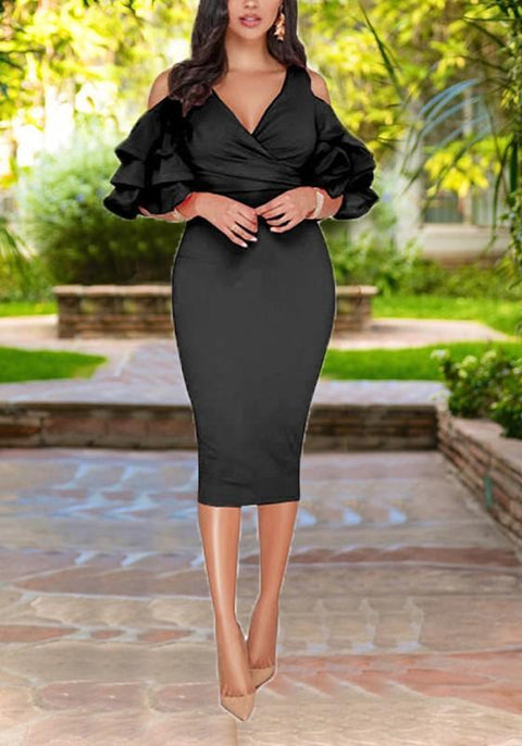 DaysCloth Black Cascading Ruffle Cut Out Sleeve High Waisted Bodycon Elegant Party Midi Dress