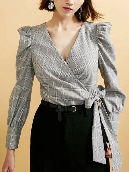 New Grey Plaid Belt Buttons V-neck Long Sleeve Office Worker Blouse