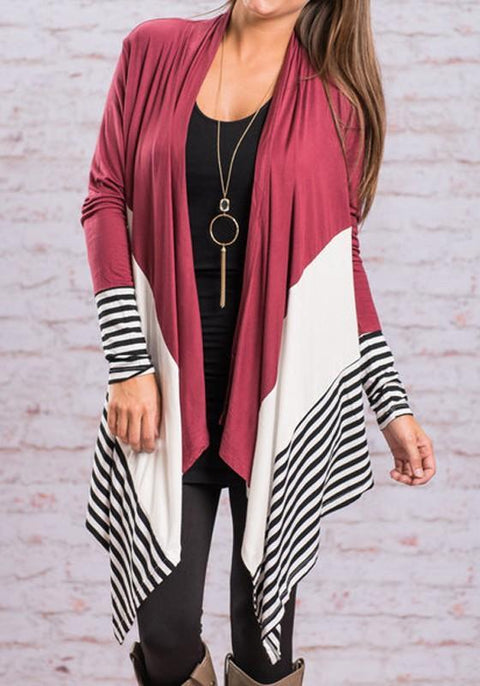 DaysCloth Yellow Patchwork Striped Irregular Long Sleeve Casual Coat