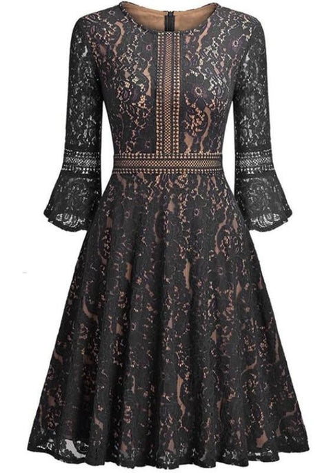 DaysCloth Black Patchwork Lace Draped Round Neck Long Sleeve Midi Dress