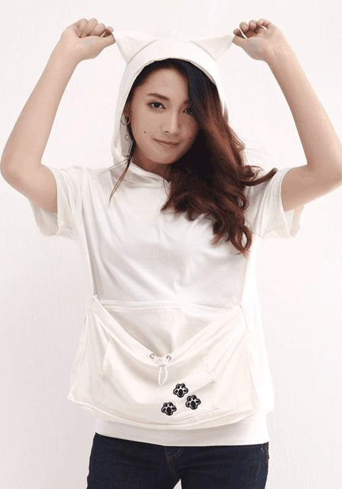 DaysCloth White Animal Zipper Pockets Hooded Short Sleeve T-Shirt