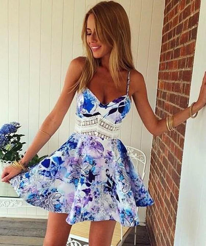 Blue Floral Patchwork Spaghetti Straps Wave Pattern Homecoming Beach Party Casual Lace Dress