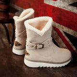 New Beige Round Toe Flat Buckle Casual Ankle Boots