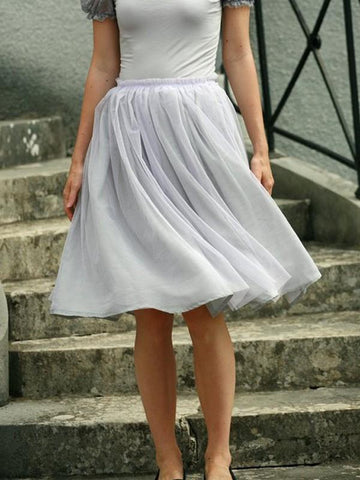 Grey Grenadine Draped High Waisted Sweet Tutu Skirt