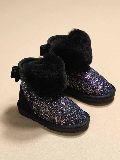 DaysCloth New Black Round Toe Sequin Bow Fashion Ankle Boots