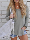 Casual Basic Knit Solid Color Long Sleeve Top
