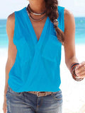 Sexy Sleeveless Chest Pocket Solid Color Top Camisole