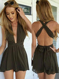 Fashion Plain Backless Romper