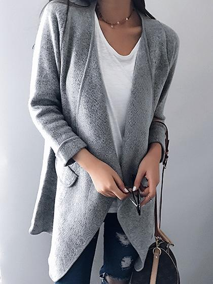 Fashion Oversize Open Collar Solid Color Cardigan