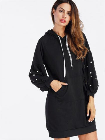 DaysCloth Black Beaded Hooded Sweat Dress