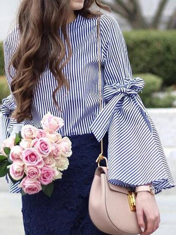 Blue Stripe Bow Tie Split Bell Sleeve Top