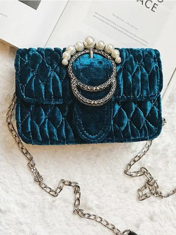 DaysCloth Blue Velvet Quilted Pearl Embellished Chain Shoulder Bag